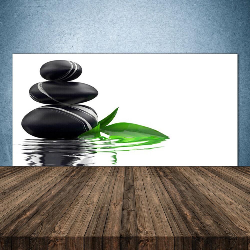 Küchenrückwand aus Glas ESG Spritzschutz 140x70cm Steine Blätter Wasser Kunst