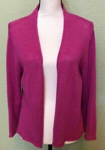 EILEEN-FISHER-Cardigan-Size-Large-Open-Front-Sweater-3-4-Sleeve-Purple