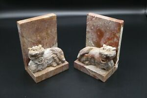 Antique-VTG-Marble-Stone-Quartz-Carved-Foo-Dogs-Tiger-Bookends-Rare-Pair