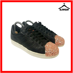 Details zu Adidas Superstar 80s Womens Trainers UK 5 Black Leather 3D Cooper Gold Metal Toe