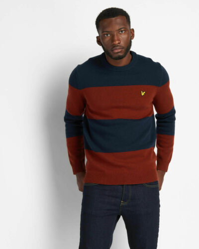 Lyle and Scott Mens Wide Stripe Knitted Jumper