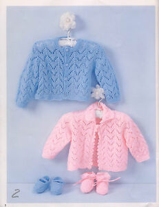 3d6d46697 Knitting Pattern-Baby lace cardigans-bootees   shoes in 4ply- fits ...
