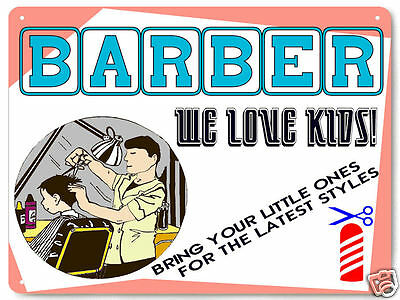 BARBER SHOP METAL SIGN child hair cut MALE version VINTAGE style wall decor 018
