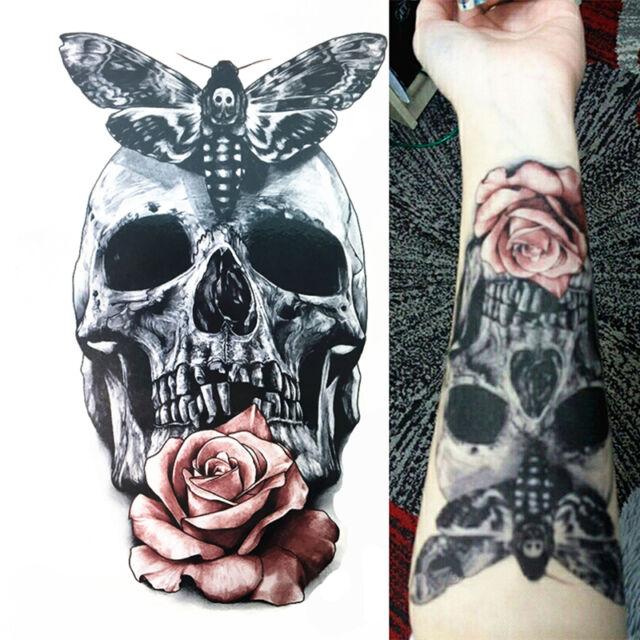 Body Art Pink Dangerous Skull Rose Tattoo Waterproof Temporary