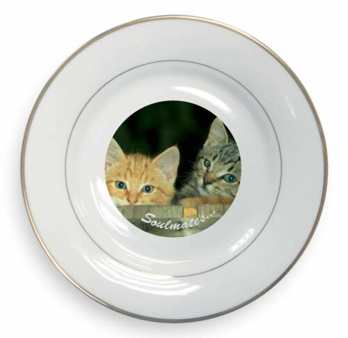 'Soulmates' Kittens in Beer Barrel Gold Rim Plate in Gift Box Christm, SOUL14PL