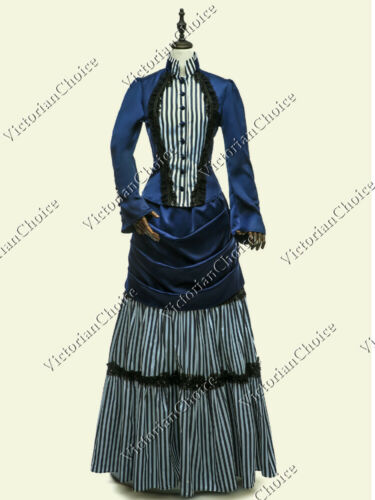 Steampunk Plus Size Clothing & Costumes    Victorian Edwardian Blue Striped Steampunk Bustle Dress Riding Habit Gown 139 $150.15 AT vintagedancer.com