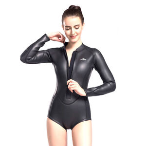 Image is loading Womens-Neoprene-One-Piece-Wetsuit-Front-Zip-Smoothskin- 22b65656b