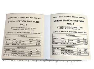 #1 and #2 1971 Kansas City Terminal Railway Union Station Timetables #425-53