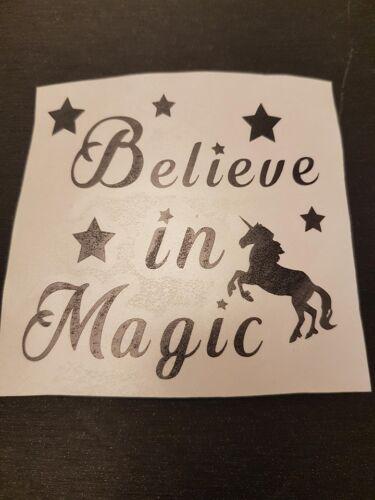 Vinyl decals believe in magic Licorne Verre Chambre À faire soi-même Cadeau Fairy Tales