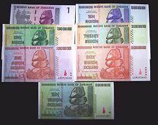 7 Zimbabwe Banknotes.1 Dollar, 1,5,10,20,50 Billion&10 Trillion dollars-currency