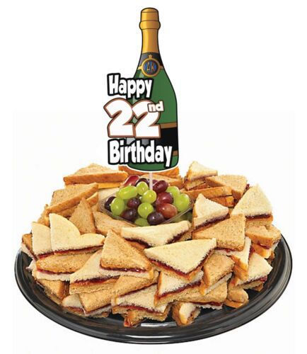 22nd Anniversaire champagne PARTY FOOD Tasse Gâteau Picks Sticks Décorations Toppers