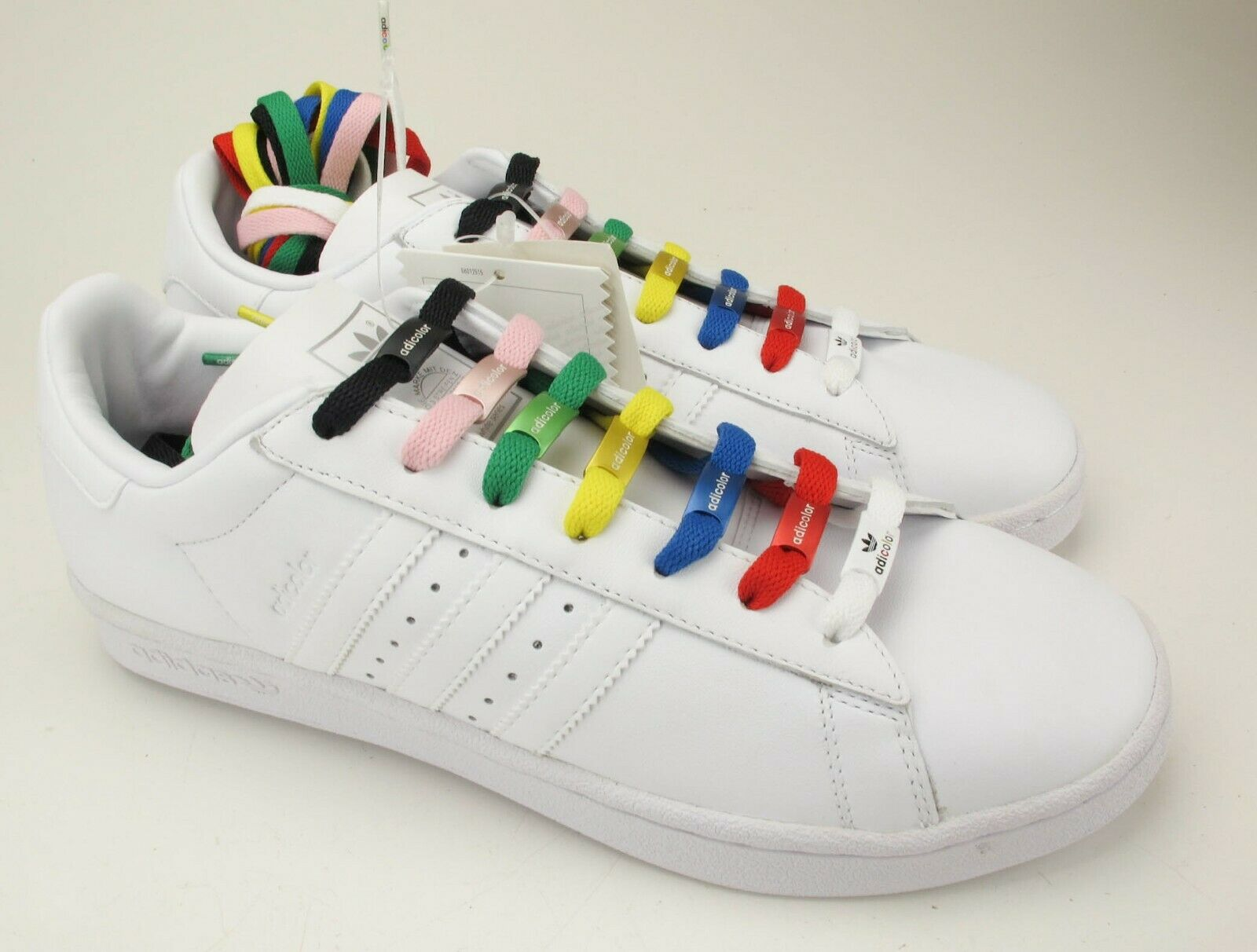 New Adidas Adicolor Limited Edition White W3 Century Lo Multicolor Laces 10.5