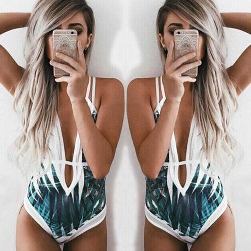 Bademode Damen Monokini Tiefer V Ausschnitt Gepolsterter Badeanzug Urlaub Strand