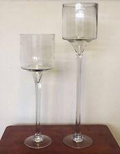 Set of 2 Large Glass Centrepiece Wedding Candle Holder Events Decorative Vase