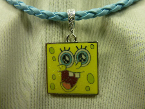 Damen Kinder Spongebob Schwammkopf Anhänger Glitzer gelb inkl. Kette blau - NEU