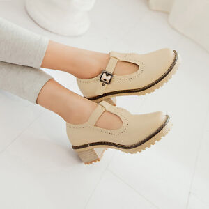 Retro-Brouge-oxfords-T-strap-flats-chunky-heel-low-faux-leather-Preppy-shoe
