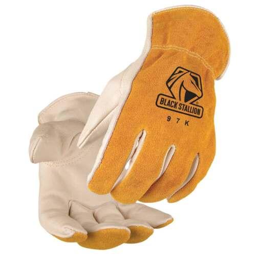 Black Stallion 97K Premium Grain//Split Cowhide Driver/'s Gloves Large
