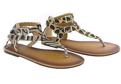 Moda del Dedo del Pie-Post Doble Hebilla Plana Informal de Verano Sandalias Zapatos para mujer UK 3-8