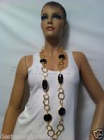 Kenneth Jay Lane Circle Link Black Stations Long Necklace Can Be Belt 4712nsgb