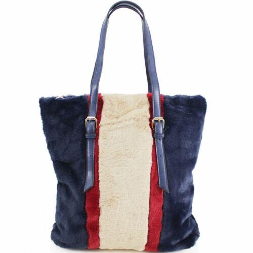 New Ladie/'s Designer Inspired Fur Faux Leather Shoulder Bag Handbag UK SELLER