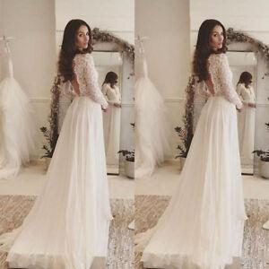 7e0492c6f576 Elegant Bohemian Wedding Dresses Deep V Neck Chiffon Beach Backless ...