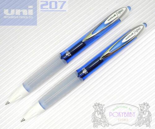2 pcs uni-ball singo 207 F 0.7mm roller ball gel ink pen BLUE