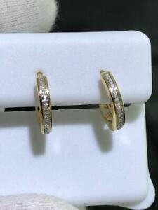 14k Yellow Gold & Genuine Diamonds G/VS1 0.25ct Pave Wide Huggie Hoop Earrings