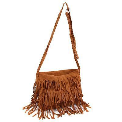 Women Vintage Retro HOBO Bag Tassel Suede Fringe Shoulder Messenger Handbag - DD
