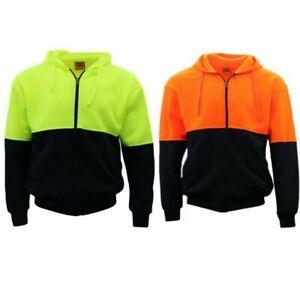 Hi-Vis-Hooded-Safety-Workwear-Fleece-lined-Fleecy-Full-Zip-Jumper-Hoodie-Jacket