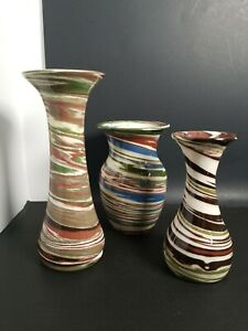 3-Desert-Sands-Pottery-1950-70-039-s-Swirl-4-5-034-4-5-034-and-6-25-034-Urn-Vase-Stamped