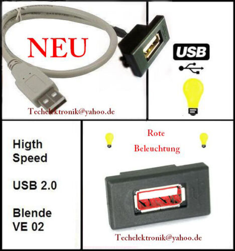 USB Einbaubuchse BELEUCHTUNG 90cm passend für Audi Q7 S3 S4 S5 S6 RS3 RS4 RS6