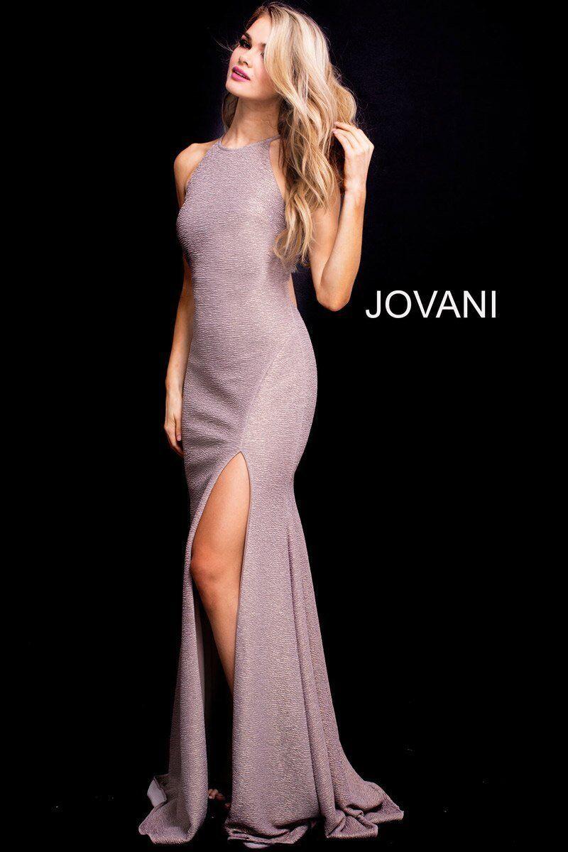 Jovani 58548 Taupe Glitter Gown Dress sz 0