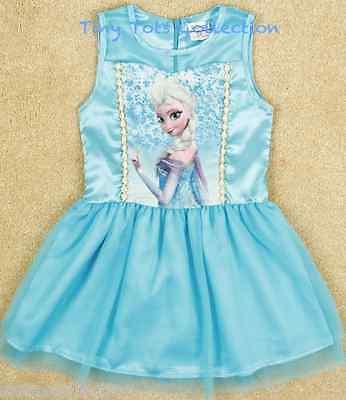 AUS Seller NEW Girls Frozen Elsa Blue princess party dress size 1 2 3 4 5