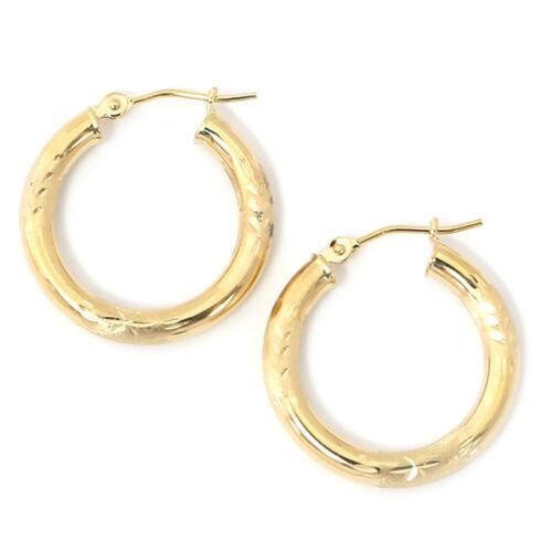 """10k Yellow Gold 2mm Diamond Cut Hoop Earrings 3//4/"""" 20mm"""