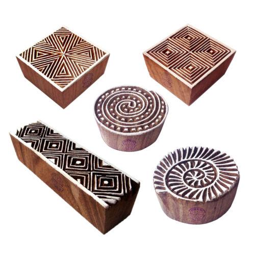 Set of 5 Decorative Pattern Swirl and Geometric Wood Print Blocks
