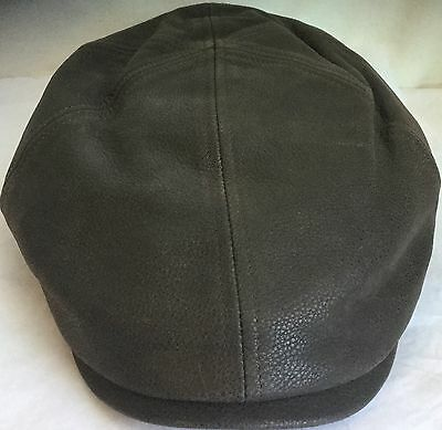 STETSON REDDING COWHIDE DRIVER HAT NEWSBOY IVY CAP BROWN LEATHER XXL 7 7 /8 63cm
