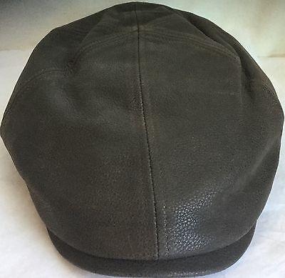 STETSON REDDING COWHIDE DRIVER HAT NEWSBOY IVY CAP BROWN LEATHER XXL 7 7 /8 63cm