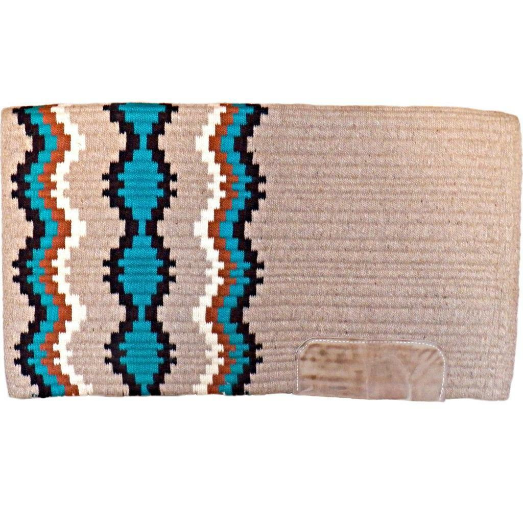 oroen West Lori Heckauomo Southwest Colorees Turquoise Saddle Blanket Pad 32 x 38