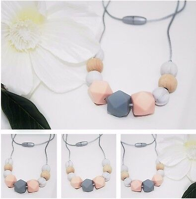 Silicone Necklace sensory wood apricot  baby tapuu  jewellery ladies gold mum