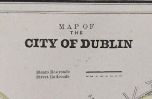 Vintage-1900-DUBLIN-IRELAND-Map-14-034-x11-034-Old-Antique-Original-TEMPLE-BAR