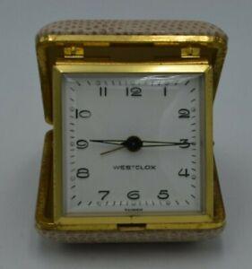 Vintage-Westclox-Wind-Up-Travel-Alarm-Clock-Tan-Works