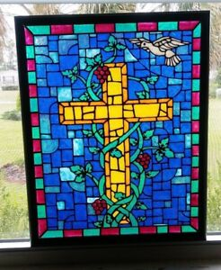 Details About Cross And Dove Stained Gl Window Panel Hand Painted