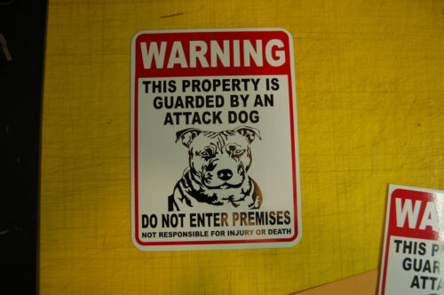 security Beware WARNING ATTACK Guard Dog on Duty PVC sign vinyl lettering