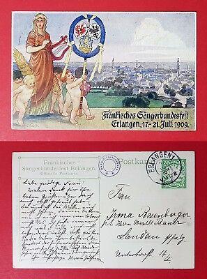 Privat Ganzsache Ak Erlangen 1909 Fränkisches Sängerbundesfest 25107 Novel In Design;