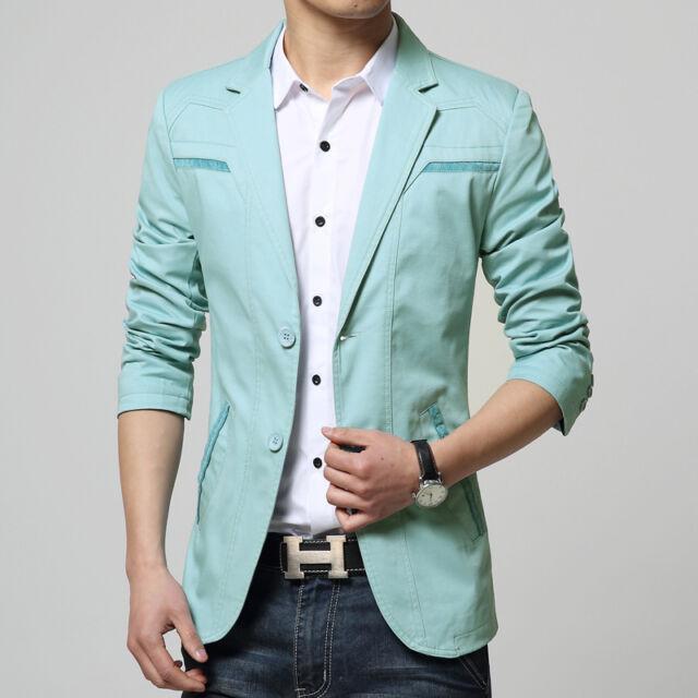 Men's Blazer Two Button Casual Jacket Coat Solid Color Fashion Slim Fit Suit Top