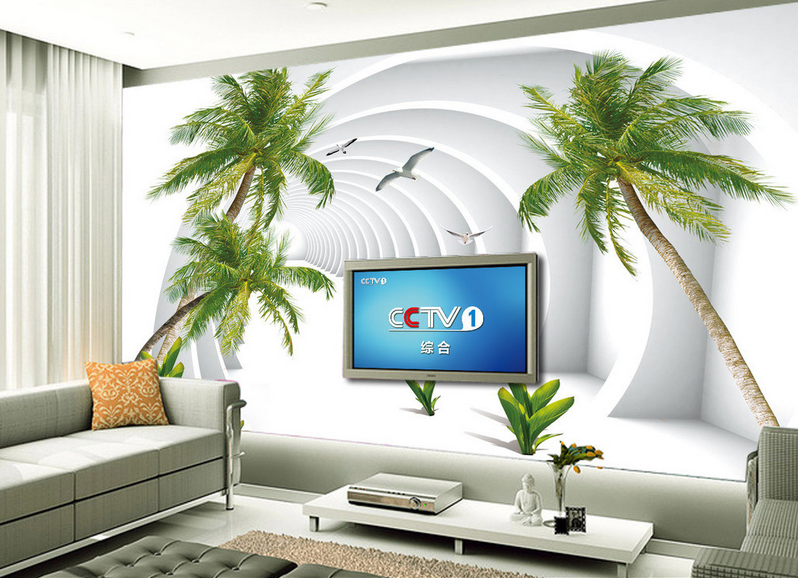 3D Arches Palm Trees 12 Paper Wall Print Wall Decal Wall Deco Indoor Murals