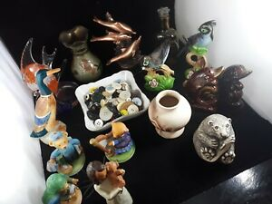 Figurines-Lot-Vintage-Dolphins-Duck-Vintage-Buttons-Vases-Beaver-Birds-Bears-Etc