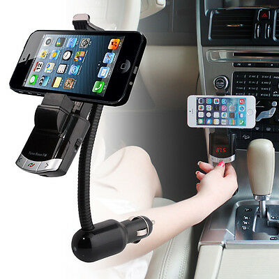 Bluetooth Car Audio Radio FM Transmitter Charger w/Phone Mount Holder Handsfree