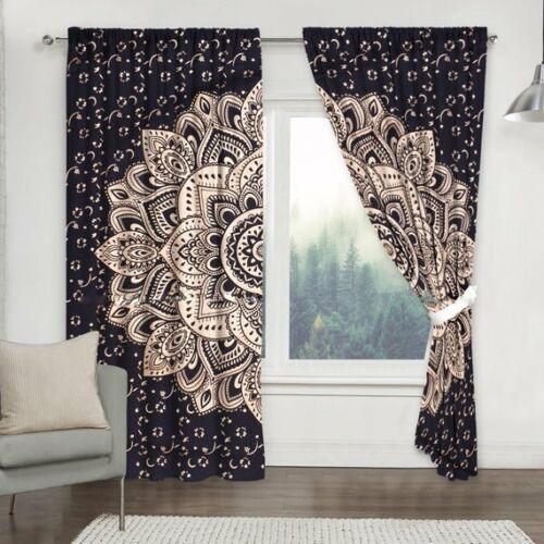Indian Mandala Cotton Balcony Wall Drapes Blue Gold Ombre Window Door Curtains