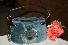 GORGEOUS!Juicy Couture SCOTTY DOG BLUE-GREEN  Velour  SMALL Handbag PURSE